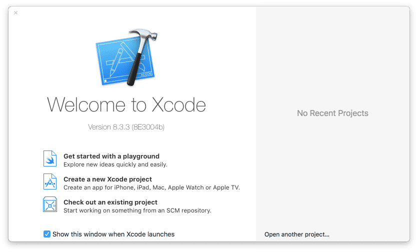 Xcode - Welcome Dialog.png